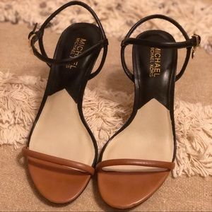 a85d3b81cd53 Tan   Black Michael Kors heels